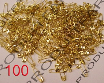 100 mini pins for safety in Metal Golden 19 x 5 mm.