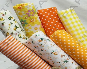 Set of 7 Coupons from cotton fabric 45 x 50 cm Patchwork sewing yellow Orange tones