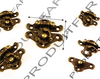 Set of 8 clasps latch lock box jewelry box casket 28 X 24 mm