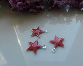 Star 15mm coral enamel pendant charm