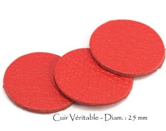 6 round genuine leather - Diam. 25 mm - goat leather - red vermilion color set