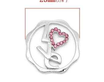 Floating disc charms 24x23mm text and Pink Rhinestone heart shaped love