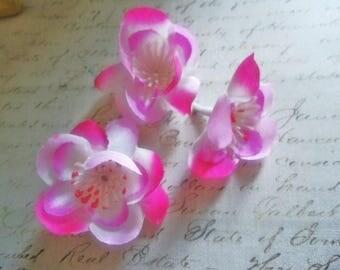 Set of 3 peach flowers, fabric 4CM