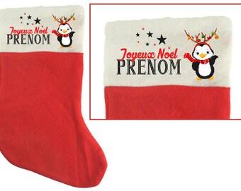 "SOCK of Christmas ""Penguin"" personalized felt"