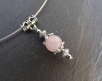 Collier pendentif quartz rose pierre fine, sur torque