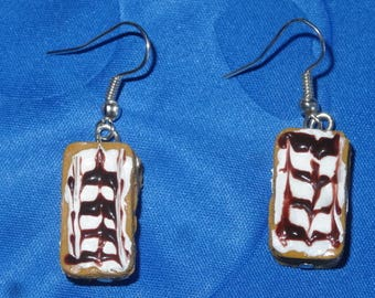 Earrings in polymer clay, very delicious thousand leaf