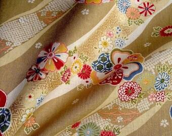 Japanese fabric, flowers, mustard, cotton bottom 112 x 50 (113)