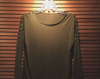 Army Green Studded Crop-Top