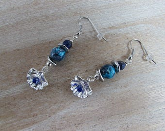 """Natural stones and silver plated """"Shell"""" earrings"""