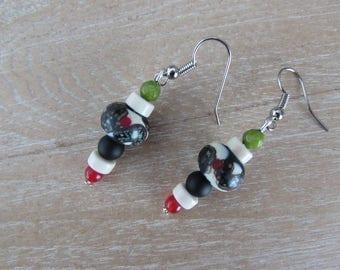 """Lampwork bead earrings and stones """"Klimt"""""""