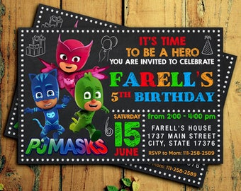 Pj Mask Birthday - Pj Mask Invitations - Pj Mask Birthday Party - Pj Mask Invitation - Pj Mask Invitation Digital - Pj Mask Invites