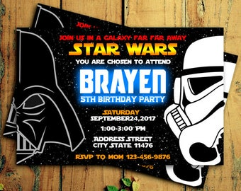Star Wars Invitations, Star Wars Birthday Invitation, Star Wars Birthday Party, Darth Vader & Stormtrooper, Star Wars Invitation, Star Wars