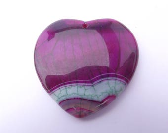Pendentif forme coeur en agate teintée WIS-206