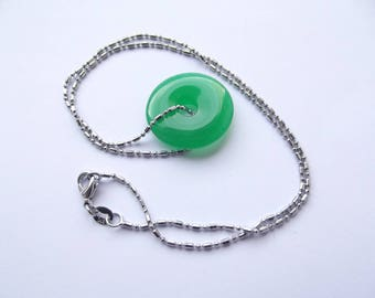 Donut pendant necklace agate dyed green CHEBAR 410