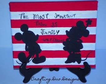Disney Inspired Mickey & Minnie W/ Walt Disney Quote Canvas