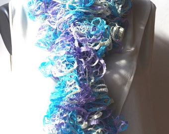 Hand crocheted ruffle scarf in shades of purple, turquoise and ecru it measures 150 cm