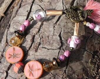 "Bracelet ""little pink dragonflies"" Bohemian chic"