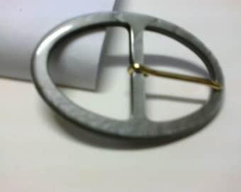 Grey plastic passage 3.7 cm oval buckle * BO76 *.