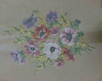 "Canvas embroidery ""Anémones"" 50 x 65 cm"""