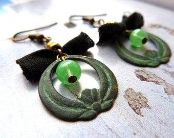 Earrings rustic verdigris patina brass and black fabric