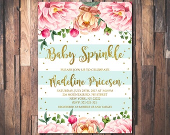 Floral Baby Sprinkle Invitation Gender Neutral Florals and Stripes Printable Oh Baby Shower Invite DIY Printed Baby Shower Invitation 1069