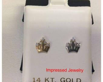 14k Yellow/White REAL Gold Princess Crown Cubic CZ Children Screwback Stud earings