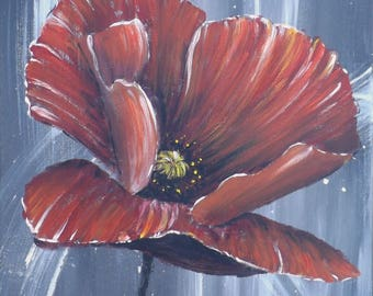 Modern painting orange red poppy on a gray background, square format 40 x 40 cm