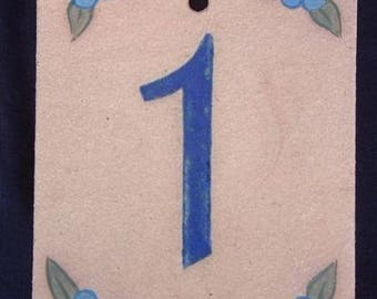 Front door number '1' original Blue Flax flowers decoration