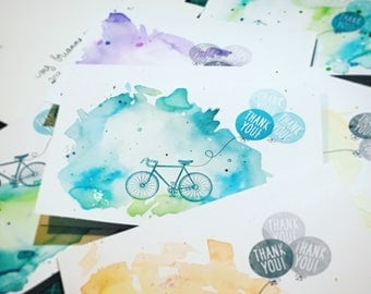 Thank You Cards: Bicycles and Balloons (set of 5 cards)