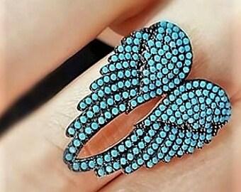 Blue Angel Wings Ring