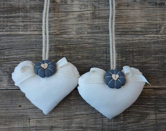 Tie backs with country chic style grey flower