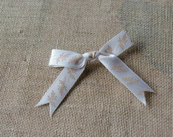 Brown and white satin bow, shabby, scrapbooking