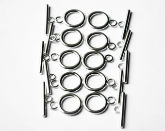 10 x silver tone Toggle clasps