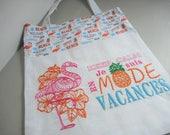 """Tote bag doublé """"keep calm en mode vacances"""" flamant rose - ananas - plage"""