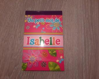 carnet un petit mot d'Isabelle pour laisser un message