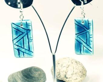 Turquoise ceramic stud earring