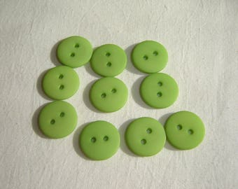 10 BUTTONS ROUND PLASTIC RESIN LIME GREEN / / 15 MM
