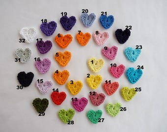 Set of 5 hearts crocheted - free choice