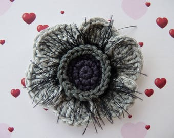 Crocheted cotton light and dark grey gray poppy