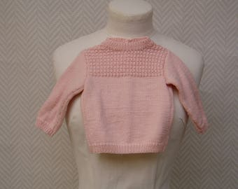 Baby 9 months hand knitted pink Wool Sweater