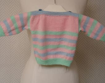 Green blue pink striped acrylic wool baby sweater. Hand knitted