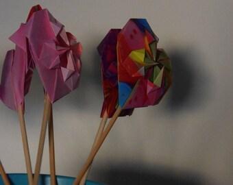 """Sticks"" origami hearts wood customizable"