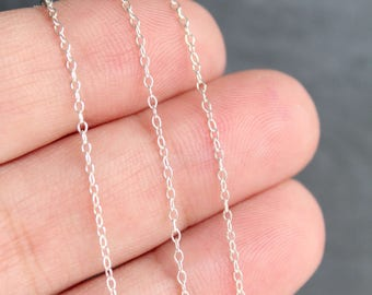 5ft, 1.5 m, Sterling Silver Oval Rolo Chain 1.2 mm, shiny finish, ideal for dainty necklaces & bracelets, wholesale discounts