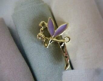 fairy pendant purple enamelled wings Golden Elf for silver jewelry