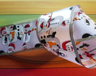 satin ribbon white and silver characters Christmas snowman snow 2.79 m x 6.5 cm