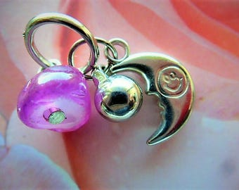 charms, moon, ball and stone agate pink 3 piece ring to ring