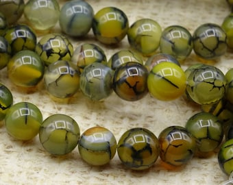 10 round beads 8mm dragon vein agate