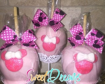 Themed Fondant Custom Mini Hard Candy Apples- 1 dozen Minnie Mouse Mickey Mouse