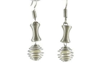 Short earrings airlines, wrapped with silver threads