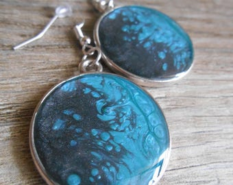 Reversible blue Caribbean and black cabochon silver Stud Earrings